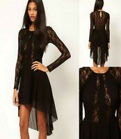 Sz 10 12 Black Lace Hi Lo Long Sleeve Cocktail Club Dance Slim Party Prom Dress