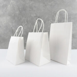10-200 WHITE PAPER BAGS BULK 6 Sizes Gift Bag HANDLE Shopping Bag Cute Boutique