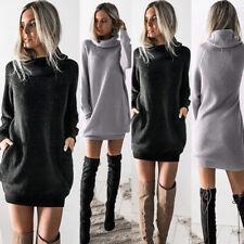 New Women Chunky Knitted Sweater Dress Roll Neck Jumper Shirt Long Tops Knitwear