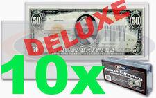 10 pcs US DELUXE Currency Paper Money Bill Semi Rigid Sleeve Regular Holder