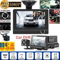 "1080P Car DVR Dual Lens Dash Cam Front G-sensor  Rear Video Recorder Camera 4"""