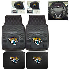 7pc NFL Jacksonville Jaguars Heavy Duty Rubber Floor Mats Steering Wheel Cover