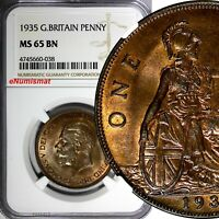GREAT BRITAIN George V Bronze 1935 1 Penny NGC MS65 BN NICE TONING KM# 838