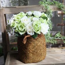 9 Heads Bridal Party Flower Bouquet Artificial Silk Roses Bride Hand Floral LA4