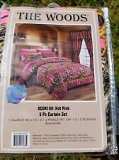 HOT PINK CAMO CURTAIN CAMOUFLAGE 5 PIECE SET VALANCE WINDOW DRAPERY