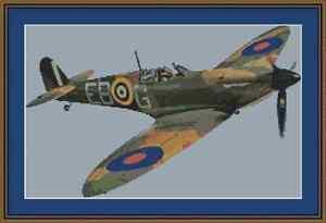 Spitfire Plane Cross Stitch Kit
