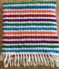 """Vintage Wool Rug Throw Small Multi Color Striped Fringe 36"""" X 39"""""""
