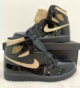 Nike Air Jordan Retro 1 HIGH Black Metallic Gold 2020 Patent Leather 555088-032