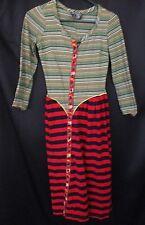 Betsey Johnson Alley Cat Dress Vintage Striped mix match pattern S-M