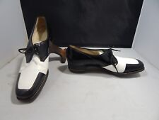 Vintage Women's Abercrombie & Fitch Black and White Spiked Golf Shoes Size 8.5