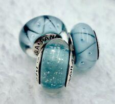 3 Pandora Murano Silver Charm Shimmer Blue Eyes Glass Beads