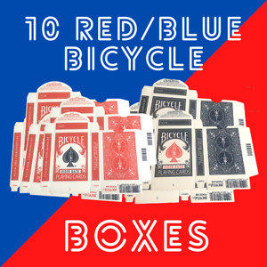 10 x Original Empty Bicycle Playing Card Box Rider 808 Red/Blue Magic Tricks
