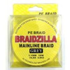 Braidzilla PE Mainline Braid 10 LB (ca. 4.54 kg) 100 M Grigio-Dropshot/Esca/SPINNING/FEEDER