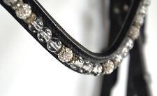 TRENSE,schwarz mit silber Perlen+Strass, Reithalfter schwed-kombiniert. , Gr. WB