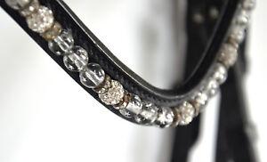 TRENSE,schwarz mit silber Perlen+Strass, Reithalfter schwed-kombiniert. , Gr. VB