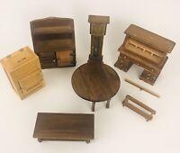 Vintage Wooden Miniature Dollhouse Furniture Set of 6 AB4