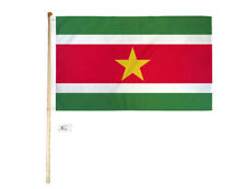 5' Wood Flag Pole Kit Wall Mount Bracket With 3x5 Suriname Country Poly Flag