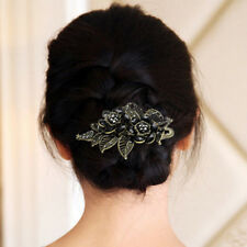 Metal Sparkly Rhinestones Crystal Rose Flowers Hair claw clip Barrette Clamp HZ