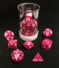 Polyhedral 7 - Die Max Pro Premium Dice Set - Pearl Rose with White MX