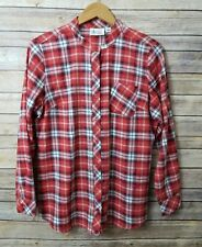 Denim & Company Plaid Button Down Shirt Small Red Womens Top