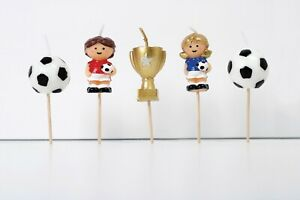PREMIUM 3D Football Cake Candles, Football Birthday Cake Topper - UK SELLER!