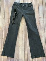 Harley Davidson Women's 6 Black Boot Cut Jeans With Embroidery Flowers Spell-out
