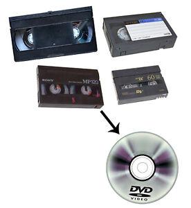 RIVERSAMENTO DA VHS, VHS-C, 8 MM., DIGITAL 8, E MINI-DV A DVD-R FINO A 60 MINUTI