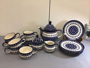 Boleslawiec Hand Made Polish Pottery Peacock Floral Design 22 Pc Tea Set