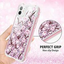 iPhone 11 Glitter Case Screen Protector Shockproof Rugged Cover PC Flower Pink