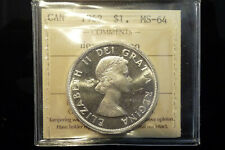 1962 Canada silver one dollar $1 - **ICCS MS-64 heavy cameo**