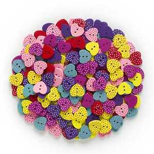 50pcs Heart Shape Wood Buttons Sewing Scrapbooking Cloth Home Crafts Decor 17mm