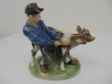 Vintage Royal Copenhagen Boy with Calf Cow Roping #772 Porcelain Figurine
