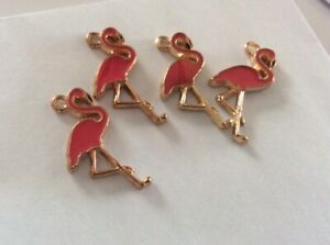 Enamel Charms, Pink Flamingos with Gold Tone, 25x15mm, 4pcs, Jewellery Making,