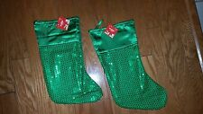 Christmas Holiday Green Sequins (2) Satin Feel Stockings . Size 16""