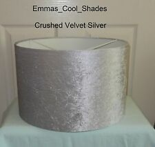 Lampshade Handmade Crushed Velvet in Silver Fabric 40cm Lightshade Drum Large