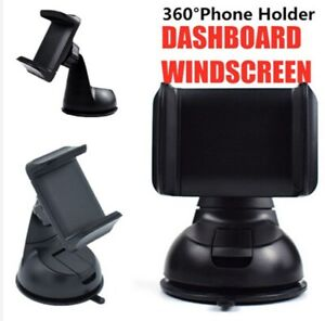 360 Car Mobile Phone Holder Universal Mount Windscreen Dashboard Suction Black