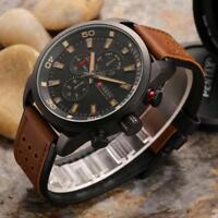 CURREN Men Business Casual Watch Chronograph Leather Band Quartz Wristwatch 48mm