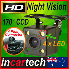 4 LED HD CCD 4pins Connector Car Rear View Reversing Backup Camera Wide 170°  AU