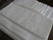 Irish Linen Damask Tablecloth and Napkins, white