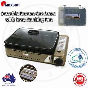 Portable Gas Burner Stove with Inset Non Stick Cooking Pan Cooker Butane Camping