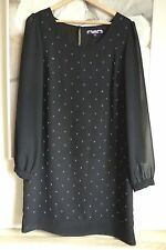 Next Ladies Dress 12 Black Chiffon Party Evening Beaded Shift Going Out