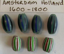 (7) RARE glass trade beads from Amsterdam Holland 1600s to 1800s