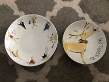 "Pottery Barn Reindeer Rudolph Large Serving Nesting Bowl Set 12"" 14"" Christmas"