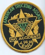 American Trucking Assns (ATA) Safe Driving Award No Accident 14 Years Oval Patch