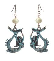NAUTICAL UNDER THE SEA MERMAID DISTRESSED PATINA FAUX PEARL EARRINGS