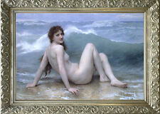 """Old Master Art Oil Painting Antique Woman Lady Nude Portrait Wave Ocean 30""""x40"""""""