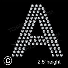Rhinestone/Diamante Transfer Arial Letter (any 1) Hotfix Iron on Motif