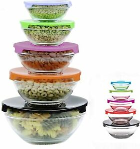 SET OF 2, 5pc Stackable Glass Storage Bowls With Color Lid Food Container