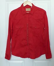 Scully Womens Western Solid Red Long Sleeve Cotton Blouse Snap Buttons L