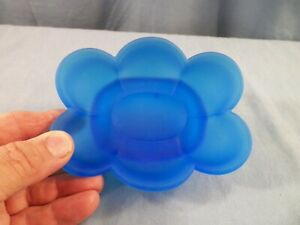Brooke Crescent Satin Blue Glass Soap Dish Holder